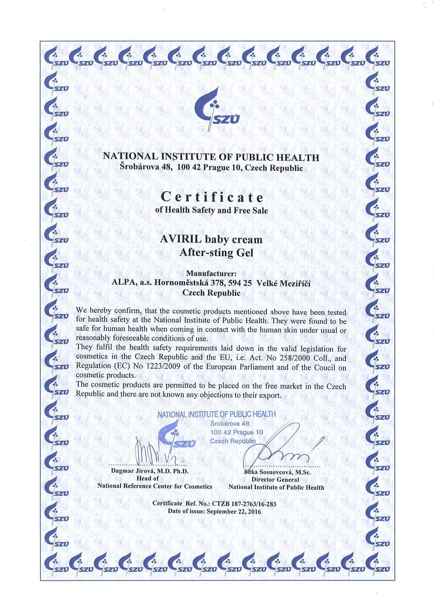 Chứng nhận an toàn và quyền lưu hành tự do đối với Aviril của ALPA